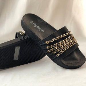 Refresh Black/Gold Sliders Shoes.